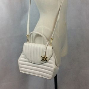 Vintage Adrienne Vittadini White Leather Handag